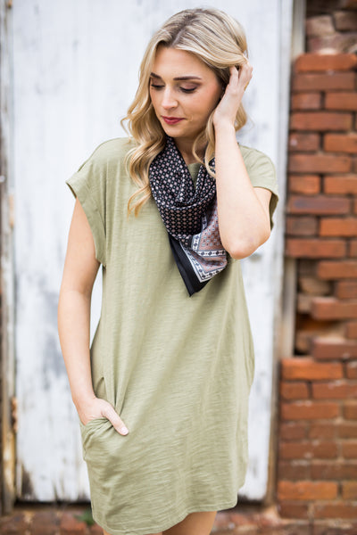 Sylvia Shirt Dress in Light Olive