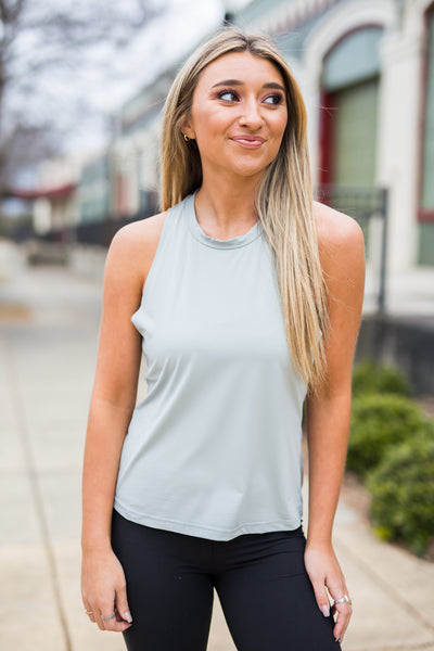 Twisted Back Athleisure Top in Grey