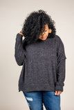 Logan Oversized Sweater in Charcoal (1X-3X)
