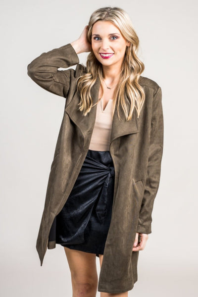 Findley Faux Suede Olive Jacket