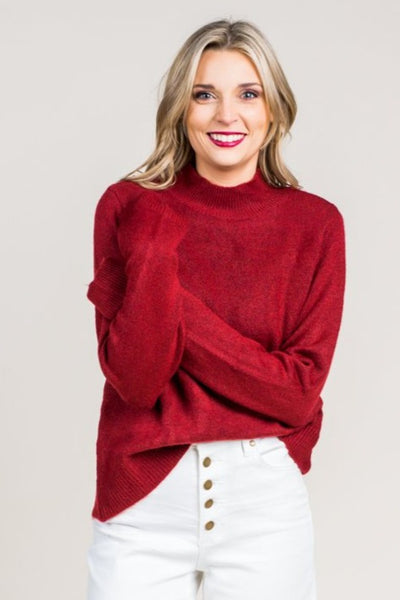 Magean Mock Neck Sweater in Berry
