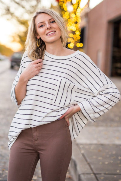 Cathlyn Striped Pocket Top