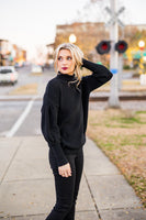 Preston Puff Sleeve Sweater in Black