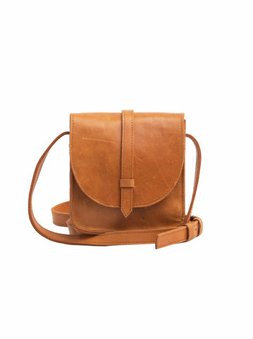 mini tan saddlebag by fashionable studio 3:19 mini tirhas in cognac
