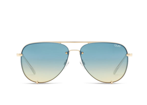 High Key Mini Rimless in Gld/Blueturq by Quay