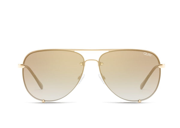 High Key Mini Rimless in Gld/BRN by Quay