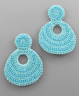 Beaded Drop Earrings in Turquoise