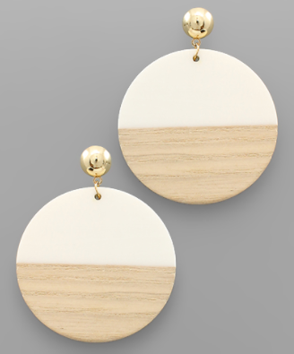 Wood & Resin Disc Earrings in Ivory