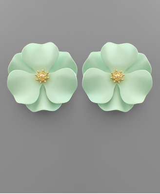Flower Studs in Mint