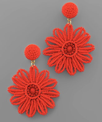 Bead Flower Earrings in Red