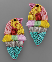 Bird Bead & Taseel Earrings in Lt Multi