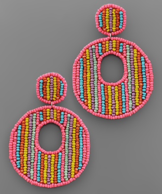 Bead Row Circle Earrings in Pink