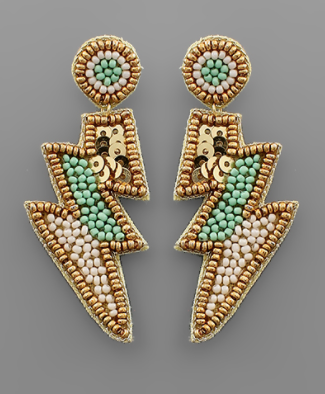Bead Lightning Earrings in Mint/Gold