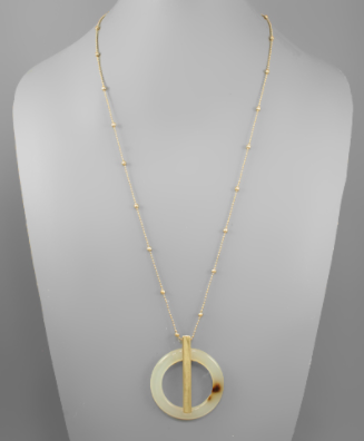 Acrylic Circle & Bar Necklace in Ivory Tortoise