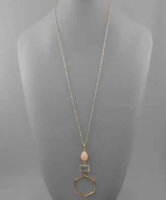Hexagon & Stone Drop Neckalce