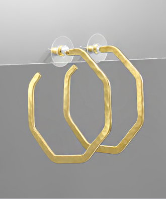 Hammered Rhombus Open Hoops in Gold
