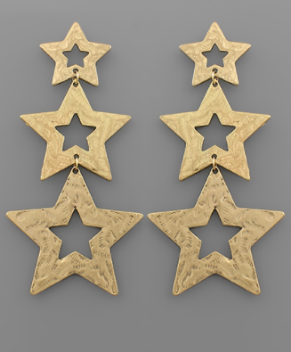 Hammered 3 Star Earrings
