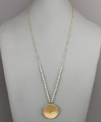 Hammered Disk Necklace in Mint