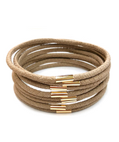 8 Row Color Leather Bracelet in Taupe