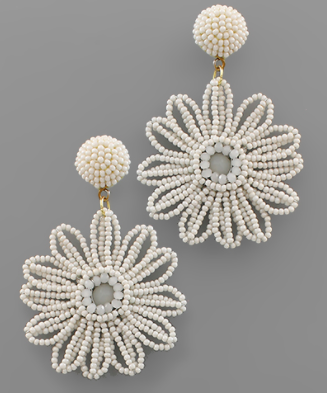 Bead Flower Earrings in White