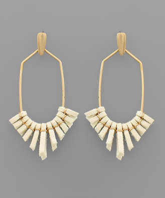 Suede Tassel Hexagon Earrings in Ivory