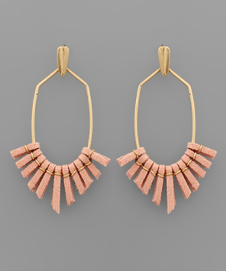 Suede Tassel Hexagon Earrings in Coral