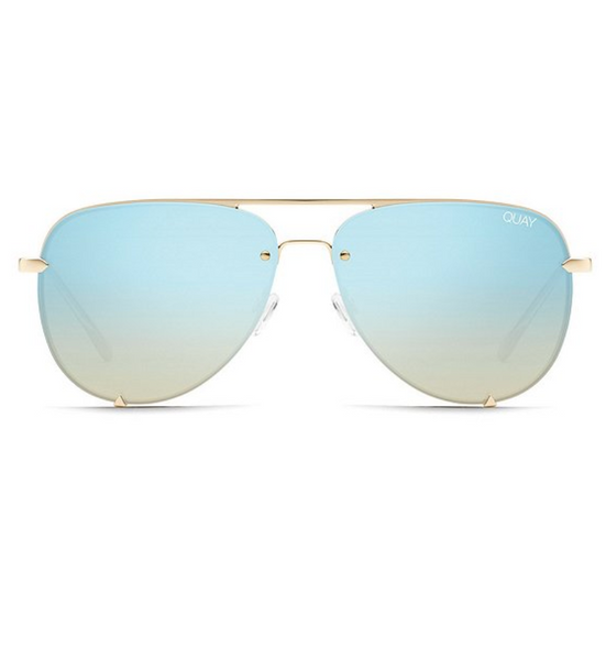 High Key Rimless in Gld/Torq by Quay