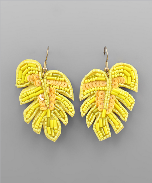 Sequin Tropical Leaf Earrings in Yellow