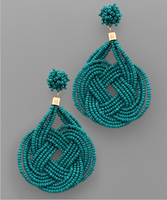 Seed Bead Love Knot Earrings in Teal