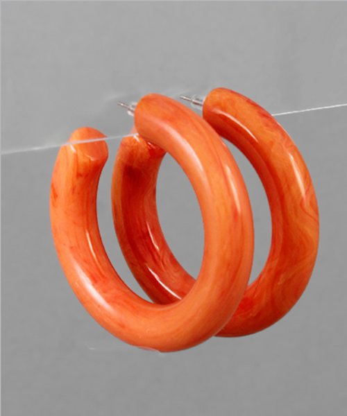 Acrylic Thick Open Hoops in Coral