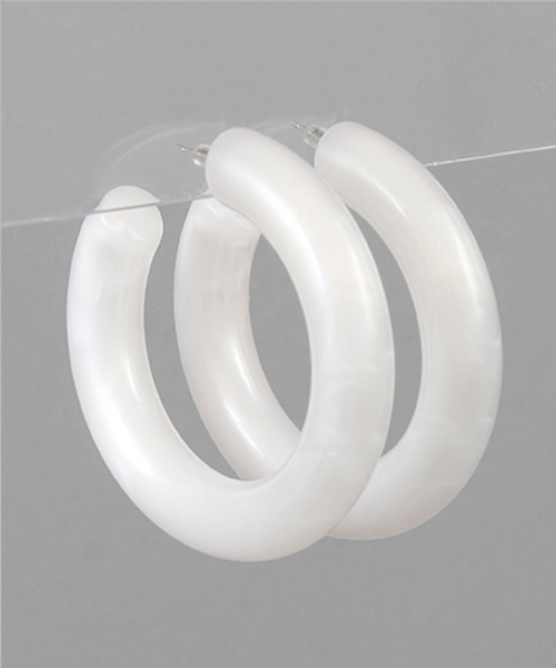 Acrylic Thick Open Hoops in White