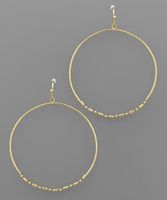 Bottom Bead Circle Earrings in Gold