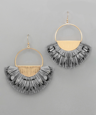 Circle Feather Fan Earrings in Grey