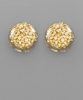 Flake Dome Earrings in Gold