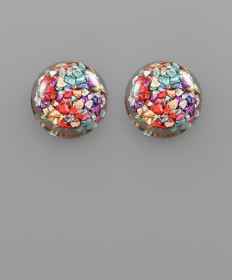 Flake Dome Earrings in Multi