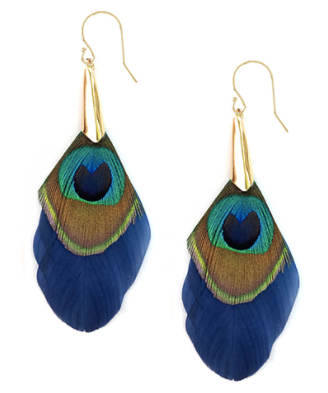 Feather & Cone Earrings in Navy