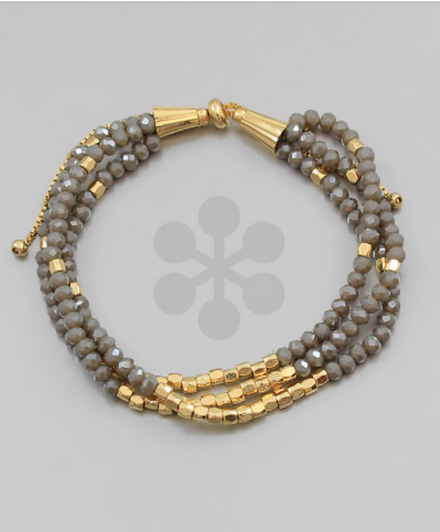 Grey/Gold 3 Rows Beaded Bracelet