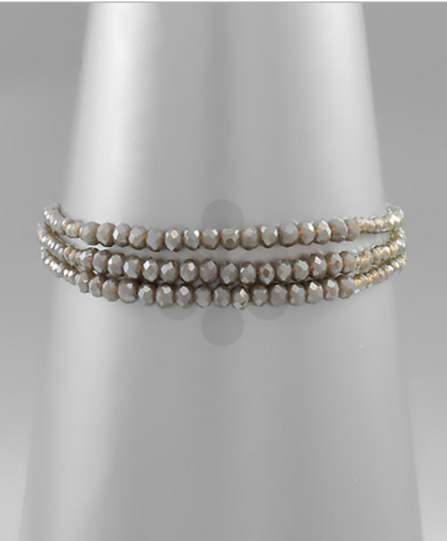 Grey/Gold Beaded Layered Bracelet