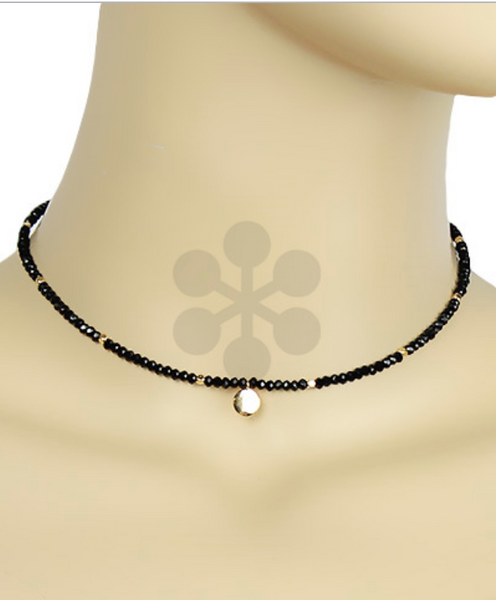 Black/Gold Single Disc Beaded Choker