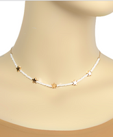 White/Gold Star Half Beaded Choker Necklace