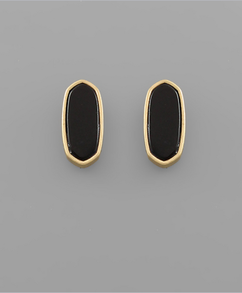 Hexagon Stone Studs in Jet Black/ Gold
