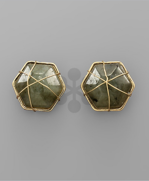 Gray/Gold Wire Wrapped Hexagon Stone/Metal Post Earrings