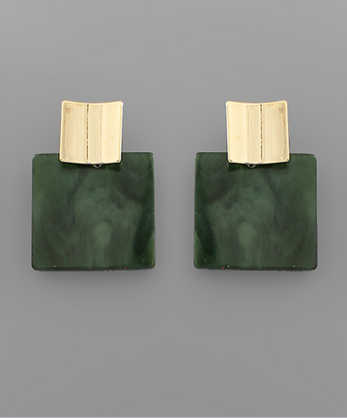 Dark Olive Acrylic Square & Gold Metal Earrings
