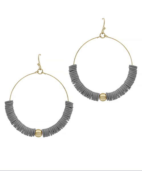 Gray Rubber Beads & Gold Ball Circle Earrings