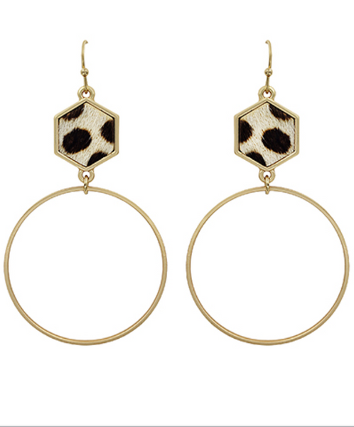 White Cheetah Hexagon Leather & Circle Earrings