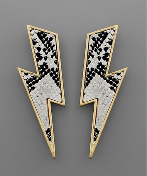 Animal Print Lightning Bolt Earrings in White Snake & Gold