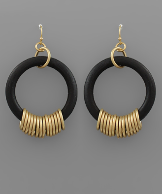 Wood Hoop & Gold Ring Earrings in Black