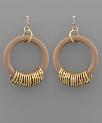 Wood Hoop & Gold Ring Earrings in Tan