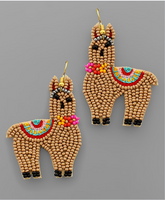 Lite Brown Llama Beaded Earrings