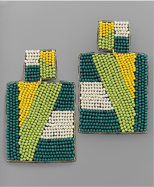 Teal/Green/Yellow Geometric Pattern Beaded Earrings